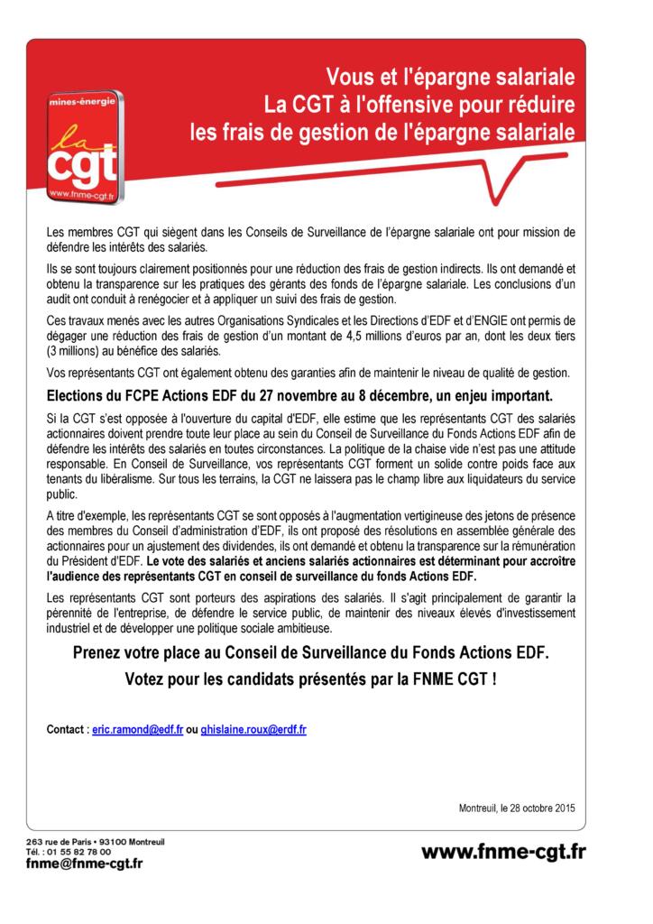 Tract frais de gestion élection FCPE